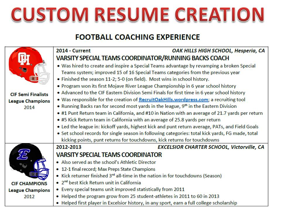 custom athletic resume standard 7 business days turnaround